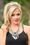 Resilience Statement Necklace Set- Silver and Black