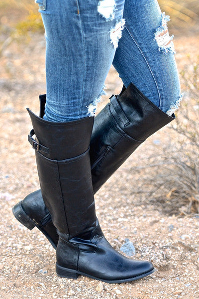 Rider Boots - Cute black riding boots, side view, Closet Candy Boutique