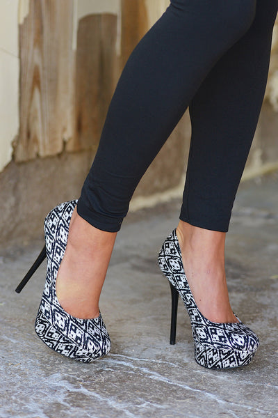 Double Take Black & White Heels