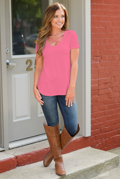 Blaze The Way Top - cute coral criss cross women's top, outfit view, Closet Candy Boutique