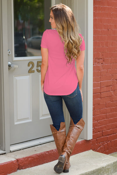 Blaze The Way Top - cute coral criss cross women's top, back view, Closet Candy Boutique