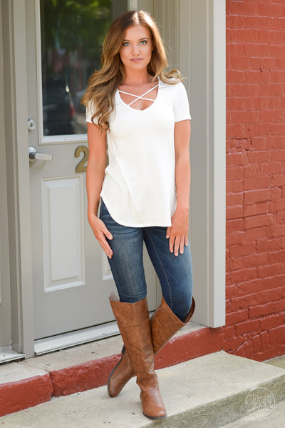 Blaze the Way Top - Ivory - Trendy and fashionable Top by Closet Candy Boutique - Front