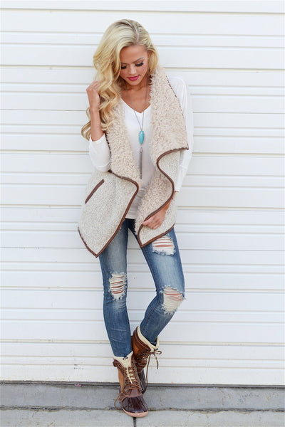 Breaking The Mold Shearling Vest - soft vest, fall style, Closet Candy Boutique 1