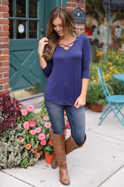 Calling the Shots Top - v-neck criss cross top, fall outfit, Closet Candy Boutique
