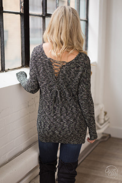 LUSH Making Promises Sweater - Marled Black