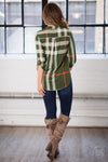 Office Hours Plaid Top - Olive womens plaid blouse closet candy boutique