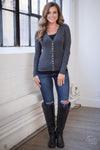 Nights In Paris Cardigan - charcoal button up cardigan, front, Closet Candy Boutique