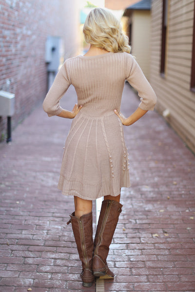 Wildest Dreams Sweater Dress - Taupe
