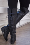 Night Owl Lace Up Rider Boots - Black