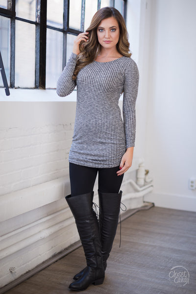 Made My Day Ribbed Tunic - Charcoal