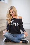 Love Off the Shoulder Sweatshirt - black off the shoulder sweatshirt with love, Closet Candy Boutique 1