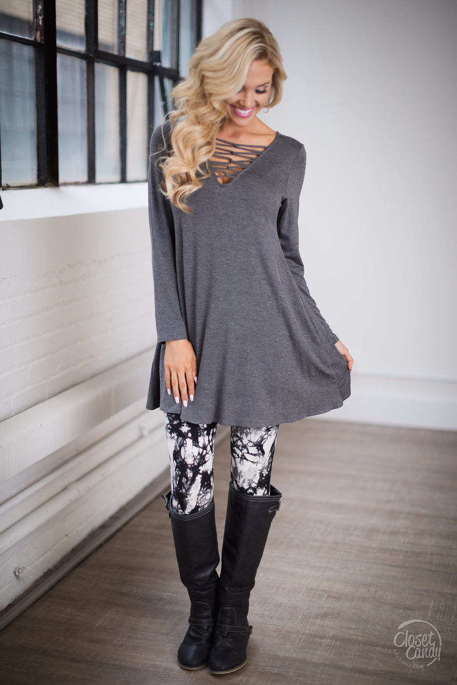 Stay You Criss-Cross Tunic Dress - Charcoal