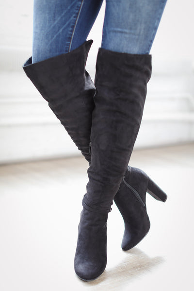 Waltz Right Over-The-Knee Boots- Black
