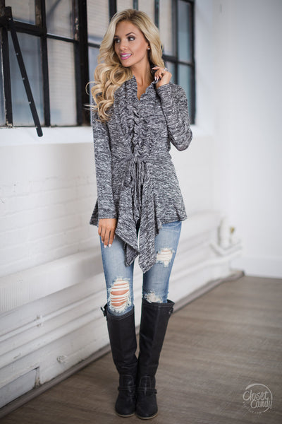 Begin Again Ruffle Front Cardigan - Heathered Grey