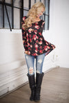 Love Story Floral Top - Black floral print flowy top, front, Closet Candy Boutique