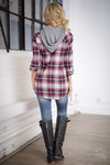 Melt My Heart Hooded Plaid Top - Red & Navy