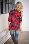 You Belong With Me Gingham Top - Red/Navy