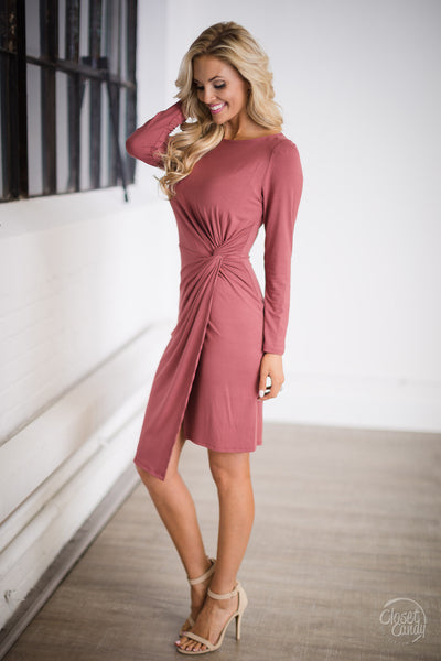 Candlelight Night Twist Dress - Marsala