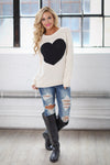 Follow Your Heart Sweater - Ivory trendy women's knit sweater with heart on front, Closet Candy Boutique 2