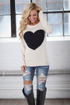 Follow Your Heart Sweater - Ivory trendy women's knit sweater with heart on front, Closet Candy Boutique 1