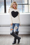 Follow Your Heart Sweater - Ivory trendy women's knit sweater with heart on front, Closet Candy Boutique 5
