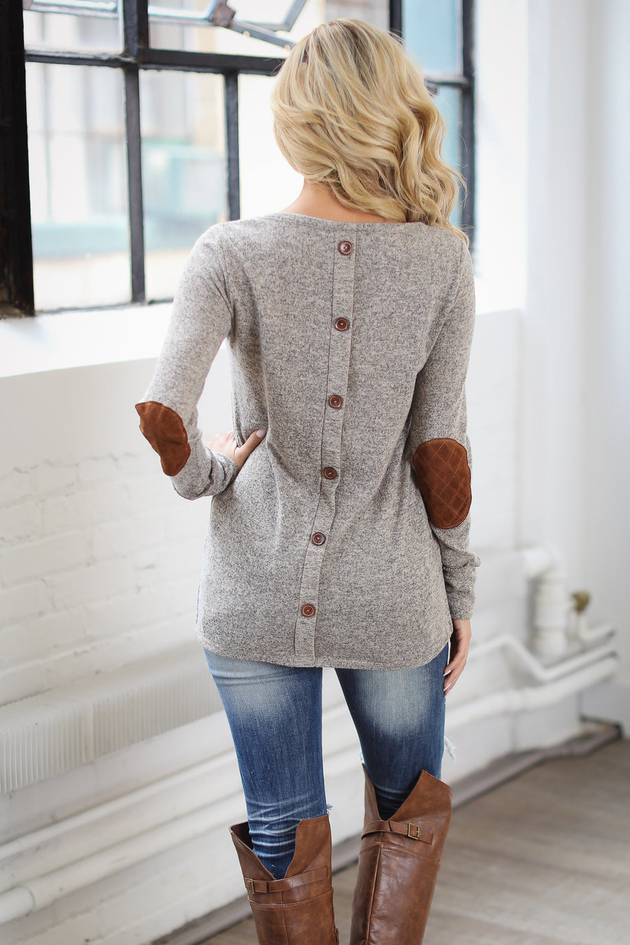 Simple Joys Sweater - taupe elbow patch sweater, side, cute fall outfit, Closet Candy Boutique 1