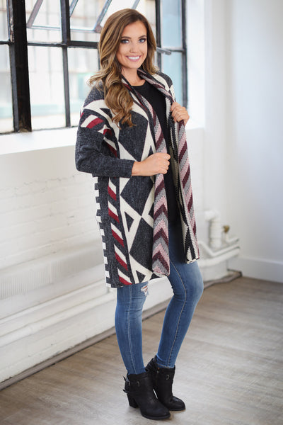 At The Lodge Tribal Cardigan - Charcoal
