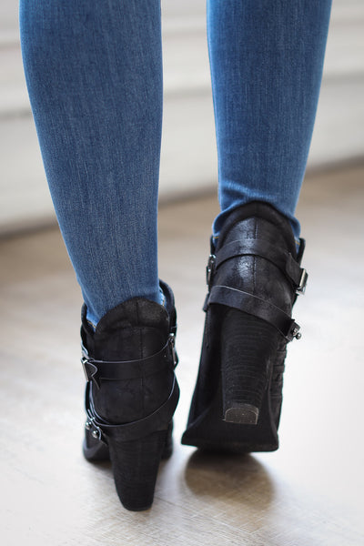 Moving Up Buckle Booties - Black
