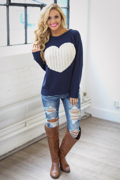 Follow Your Heart Sweater - Navy trendy women's knit sweater with heart on front, Closet Candy Boutique 5