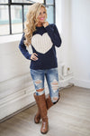 Follow Your Heart Sweater - Navy trendy women's knit sweater with heart on front, Closet Candy Boutique 1