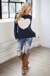 Follow Your Heart Sweater - Navy trendy women's knit sweater with heart on front, Closet Candy Boutique 4