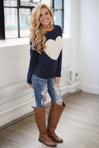 Follow Your Heart Sweater - Navy trendy women's knit sweater with heart on front, Closet Candy Boutique 3