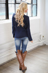 Follow Your Heart Sweater - Navy trendy women's knit sweater with heart on front, Closet Candy Boutique 2