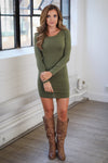 PIKO Dreams Are Forever Dress - cute olive fitted long sleeve dress, fall outfit, Closet Candy Boutique 1