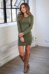 PIKO Dreams Are Forever Dress - cute olive fitted long sleeve dress, fall outfit, Closet Candy Boutique 3