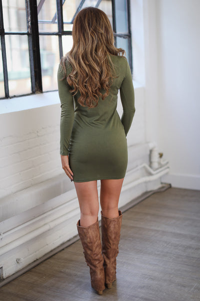 PIKO Dreams Are Forever Dress - cute olive fitted long sleeve dress, fall outfit, back, Closet Candy Boutique 2