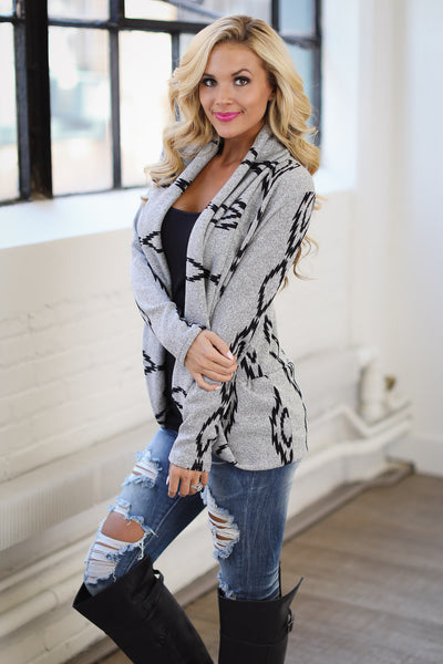 Wild & Free Tribal Cardigan - Heather Grey, black tribal print, open-front cardigan, soft, comfortable, trendy women's sweater closet candy boutique 1