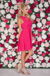 Forever Yours Fit & Flare Dress - Fuchsia