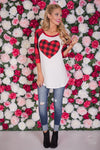 Has My Heart Plaid Top - red and black plaid heart raglan top, outfit, Closet Candy Boutique