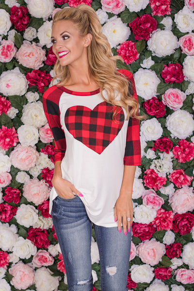 Has My Heart Plaid Top - red and black plaid heart raglan top, front, Closet Candy Boutique