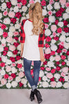 Has My Heart Plaid Top - red and black plaid heart raglan top, back, Closet Candy Boutique