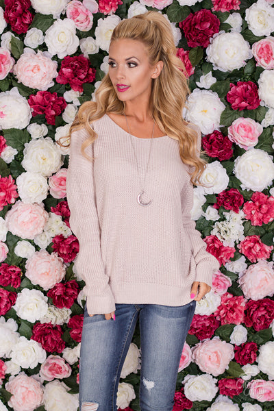 In Perfect Harmony Sweater - Blush women's flirty twist back knit sweater closet candy boutique 2