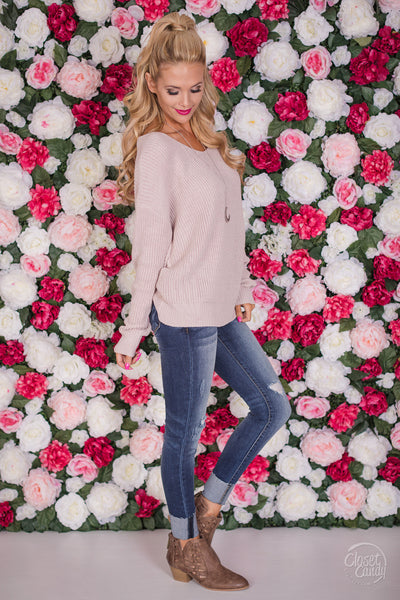 In Perfect Harmony Sweater - Blush women's flirty twist back knit sweater closet candy boutique 3