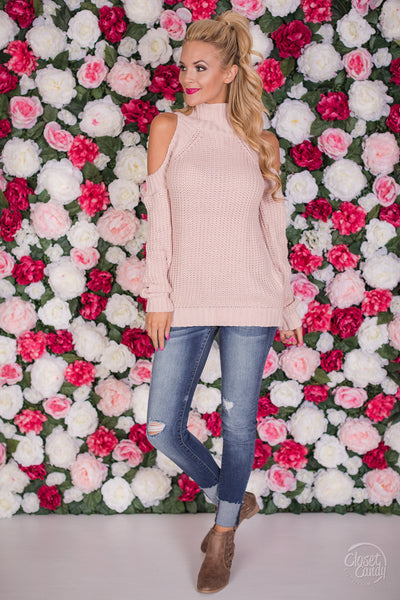 Meant For You Cold Shoulder Sweater - Blush