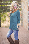 Taking Chances Top - Hunter Green v-neck flowy top, side, Closet Candy Boutique