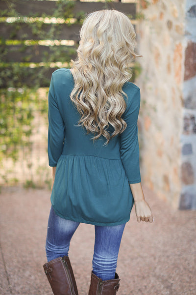 Taking Chances Top - Hunter Green v-neck flowy top, back, Closet Candy Boutique