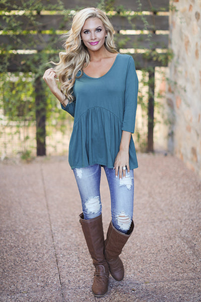 Taking Chances Top - Hunter Green v-neck flowy top, front, Closet Candy Boutique