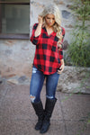 Office Hours Plaid Top - Red & Black Checkered long sleeve women's top, closet candy boutique 1