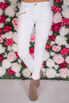 In A Rush Moto Jeans - White