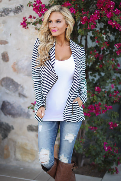 Welcome to New York Jacket - navy and white stripe zip up jacket, front, Closet Candy Boutique 3